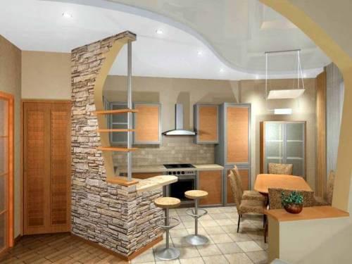 В деревенском стиле интерьер кухни в